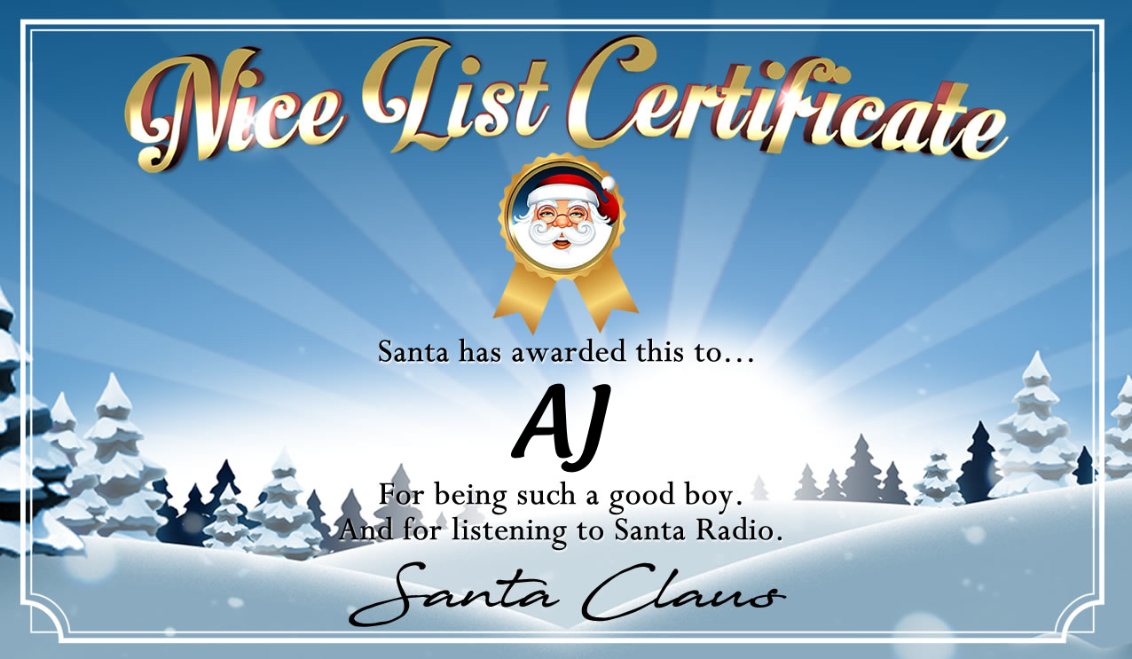 Personalised good list certificate for AJ