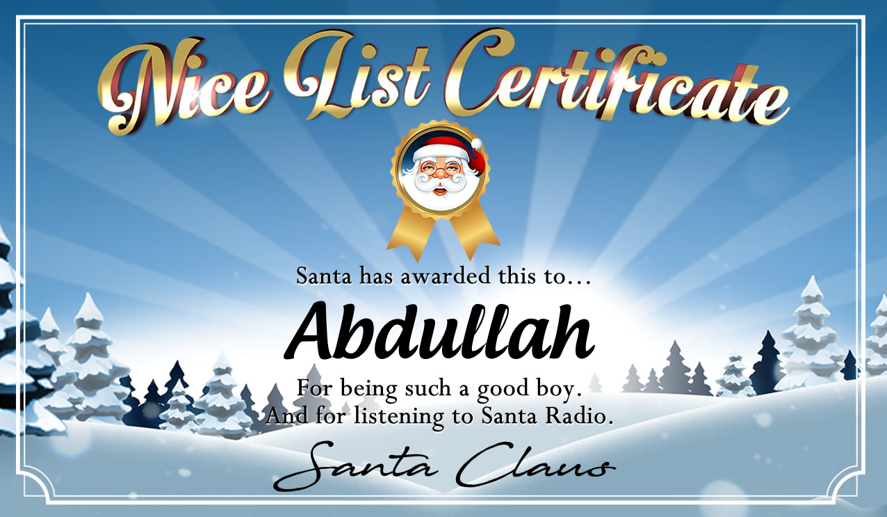 Personalised good list certificate for Abdullah