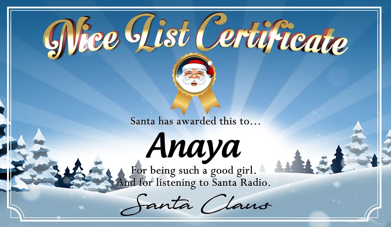 Personalised good list certificate for Anaya