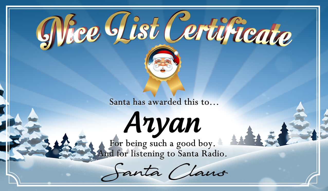 Personalised good list certificate for Aryan