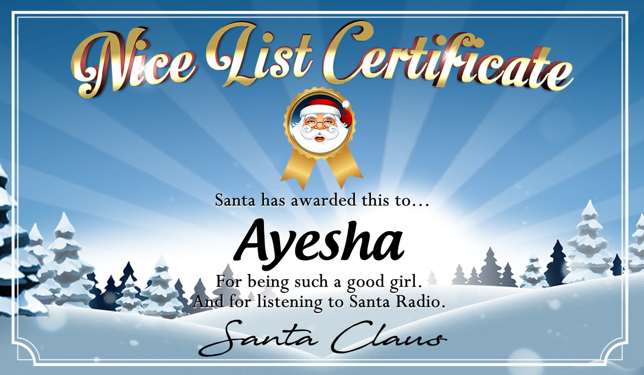 Personalised good list certificate for Ayesha