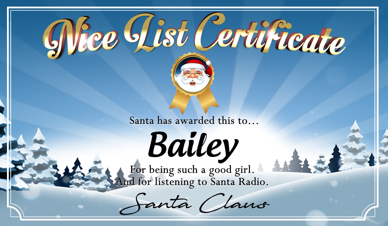 Personalised good list certificate for Bailey