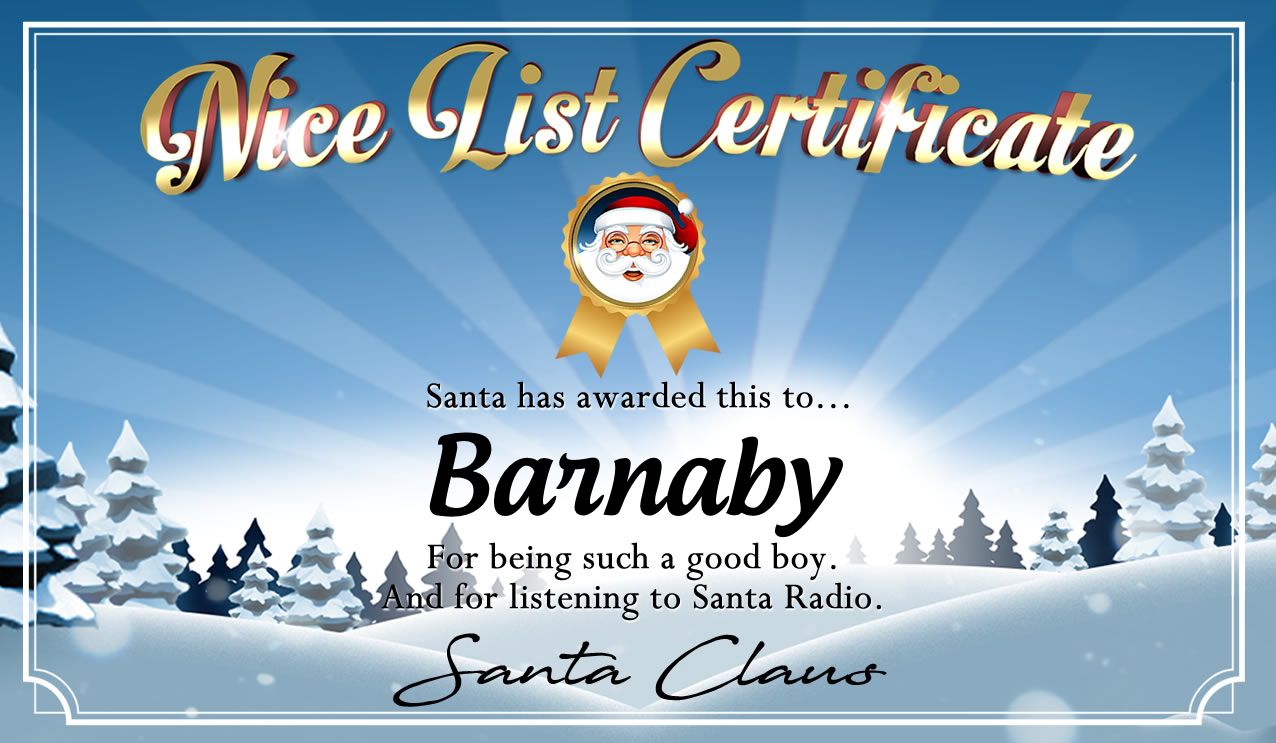 Personalised good list certificate for Barnaby