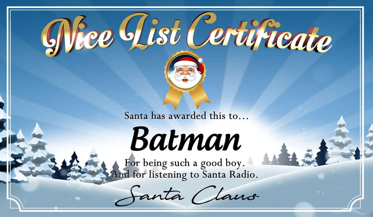 Personalised good list certificate for Batman