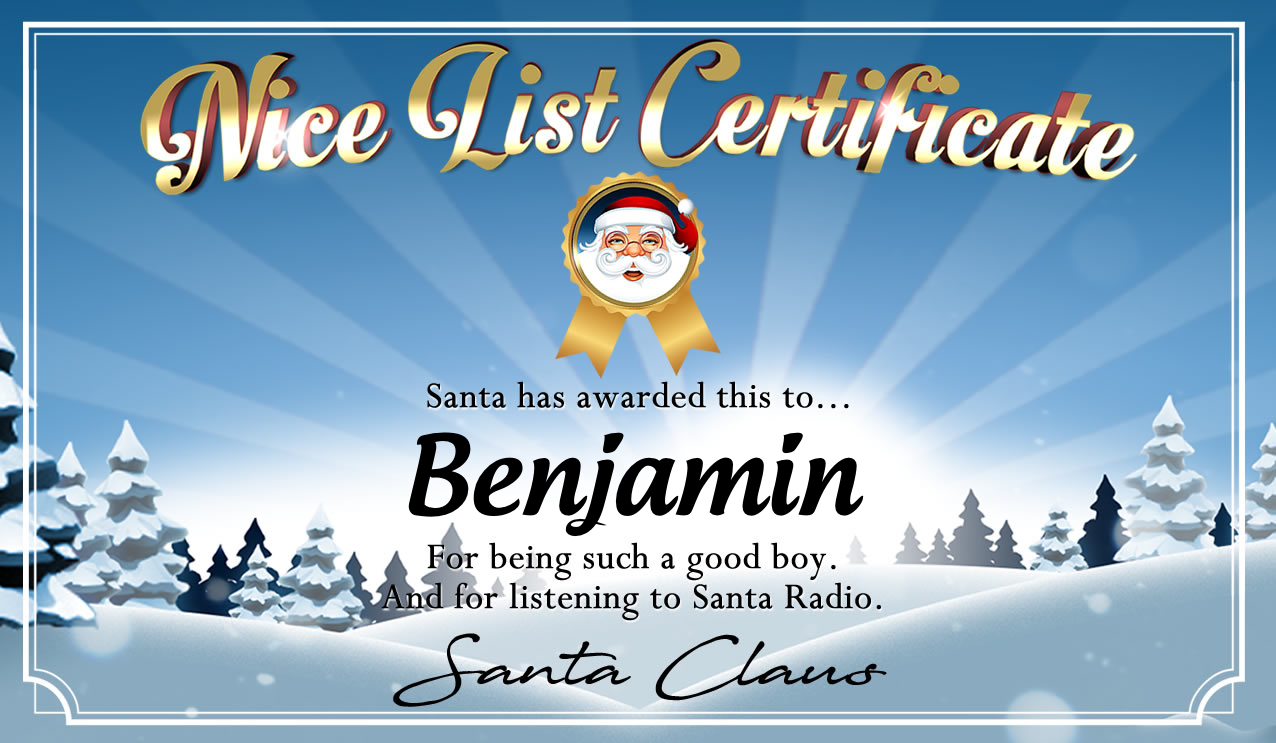 Personalised good list certificate for Benjamin