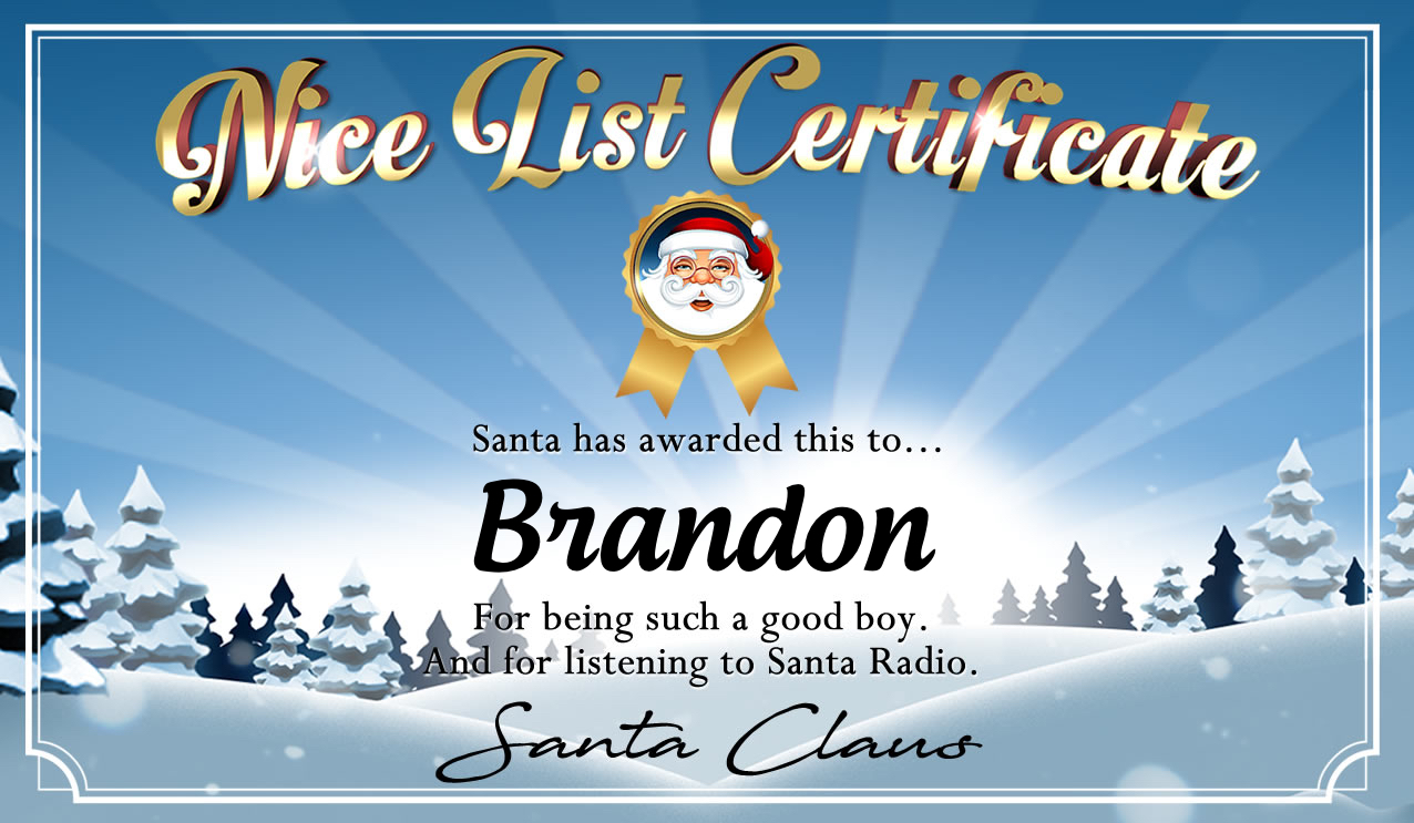 Personalised good list certificate for Brandon