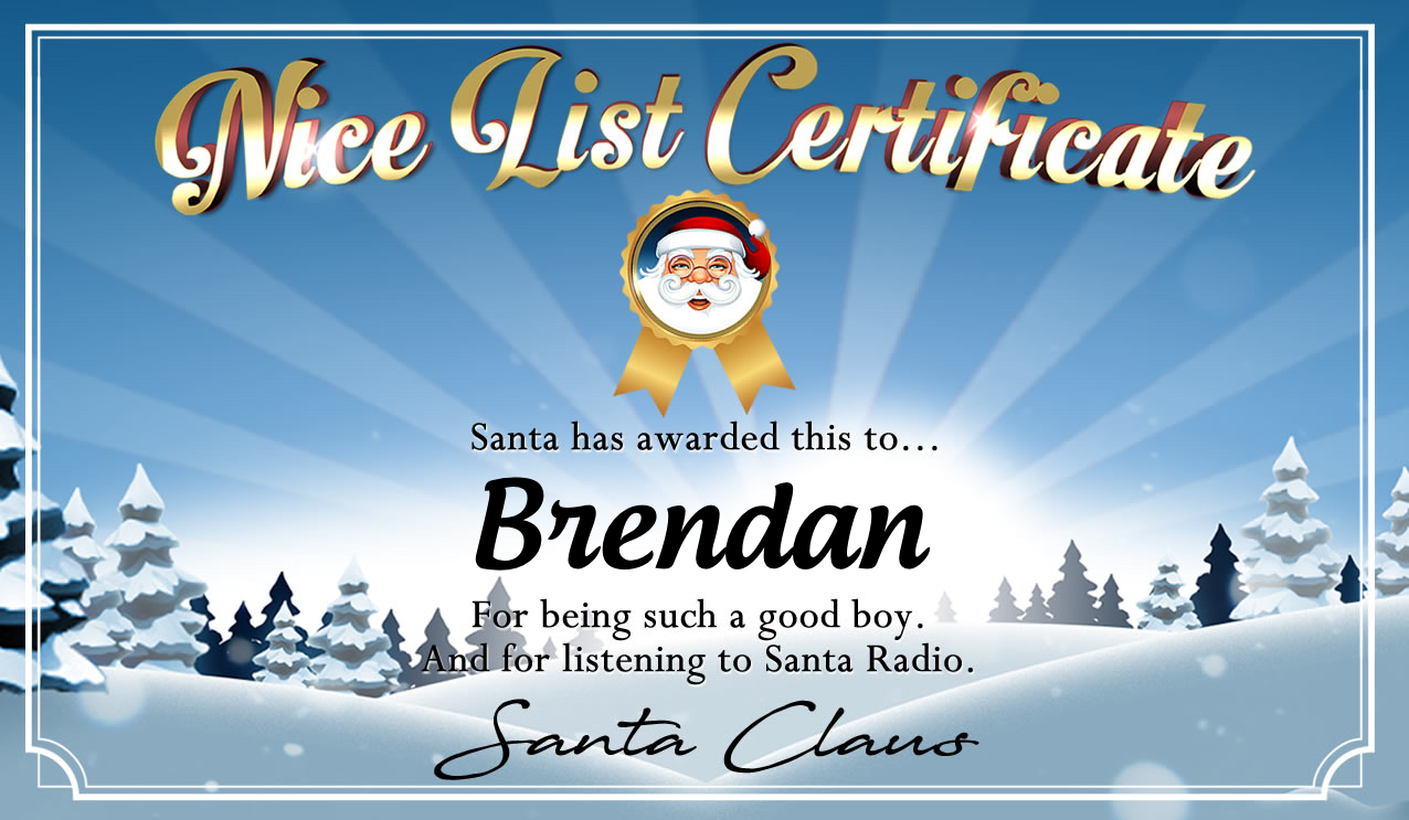 Personalised good list certificate for Brendan