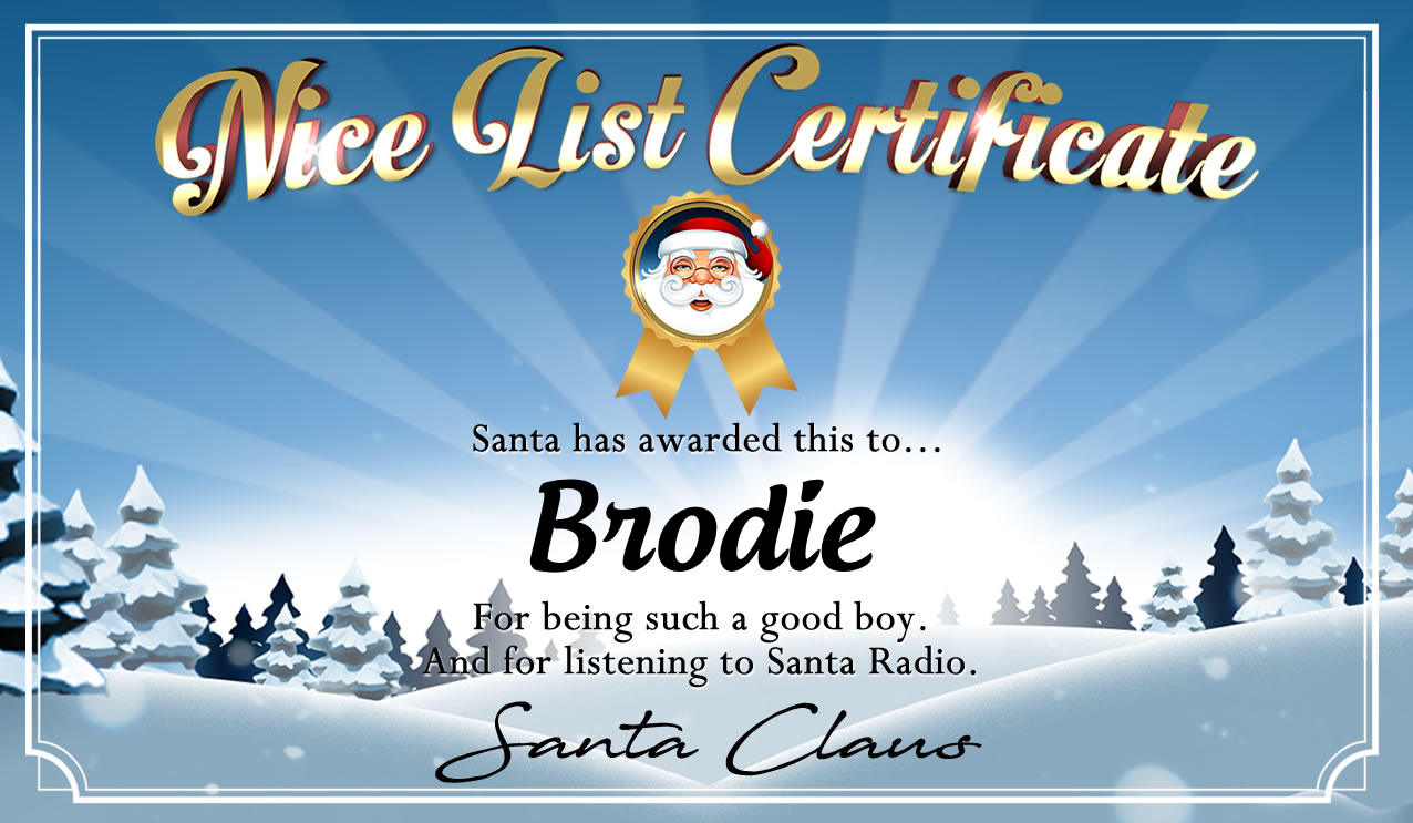 Personalised good list certificate for Brodie