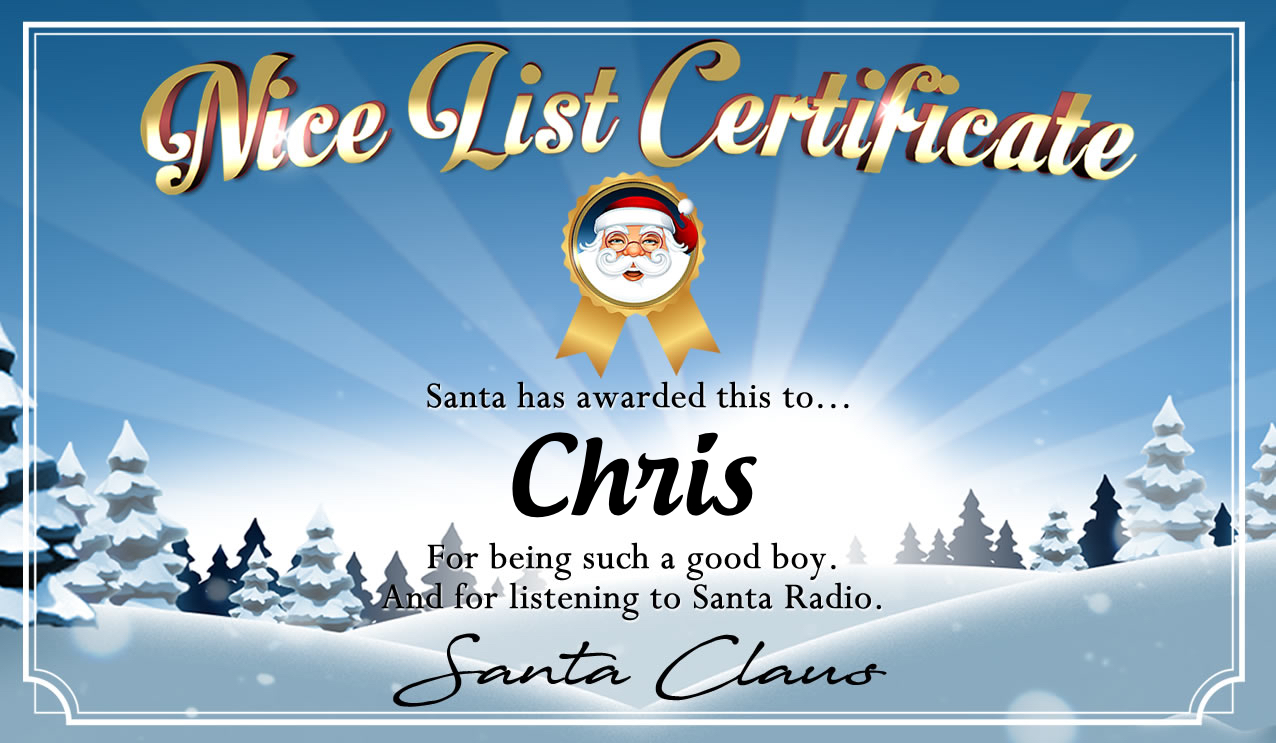 Personalised good list certificate for Chris
