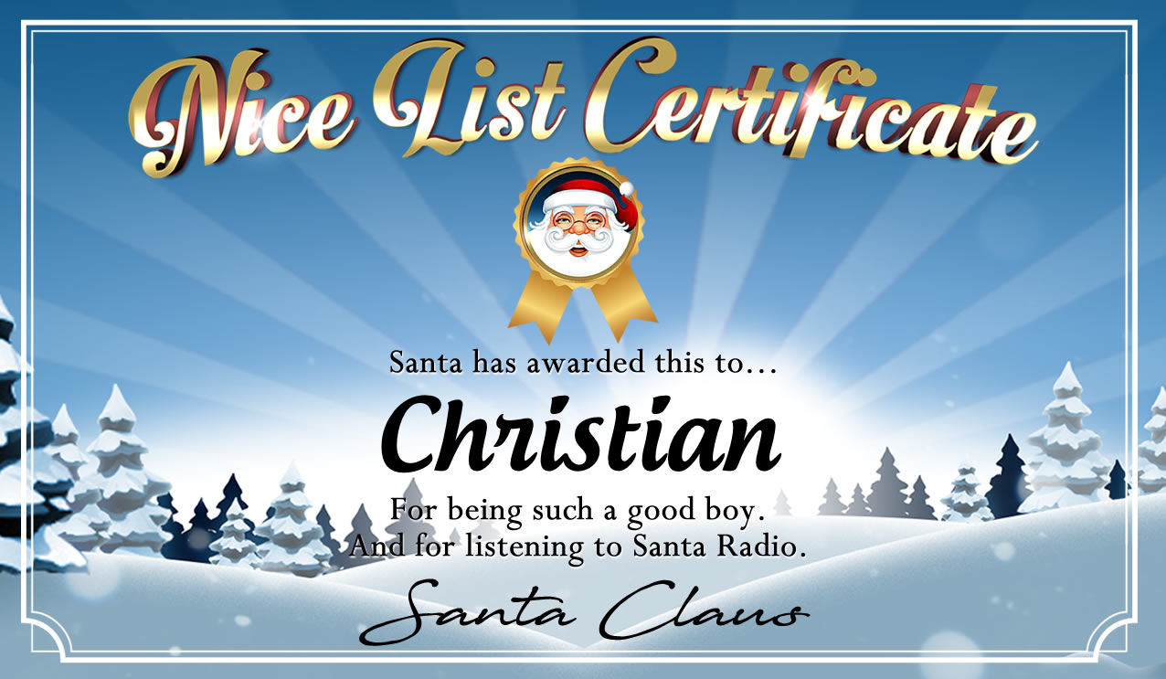 Personalised good list certificate for Christian