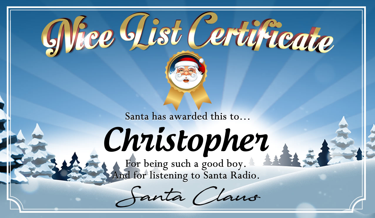 Personalised good list certificate for Christopher