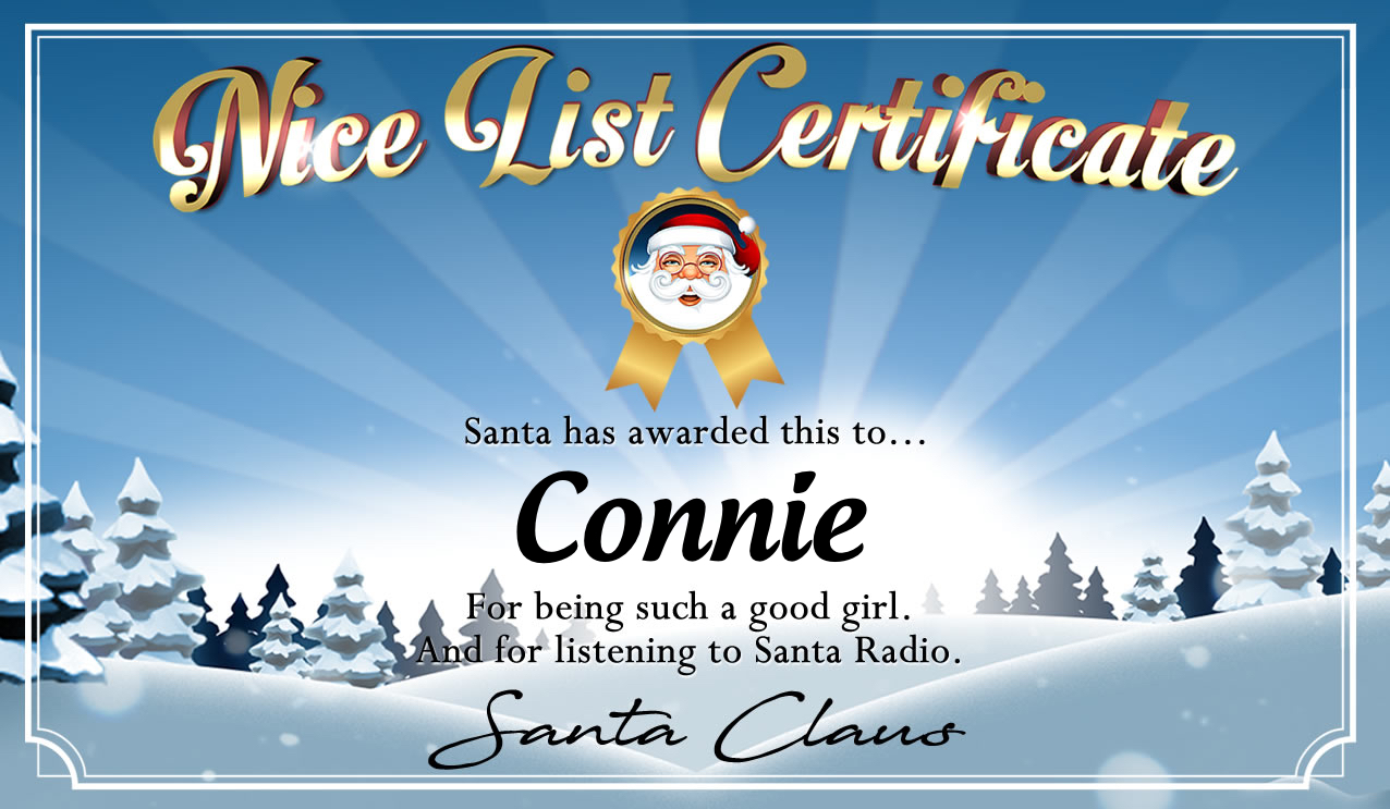 Personalised good list certificate for Connie