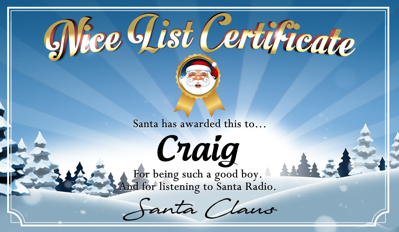 Personalised good list certificate for Craig