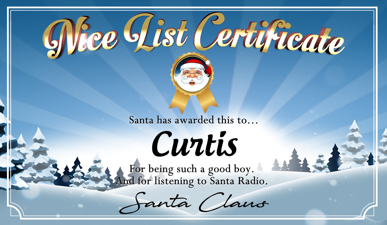 Personalised good list certificate for Curtis