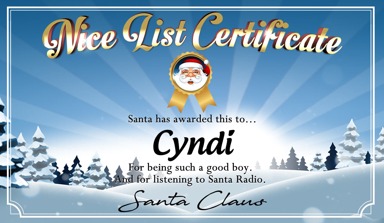Personalised good list certificate for Cyndi
