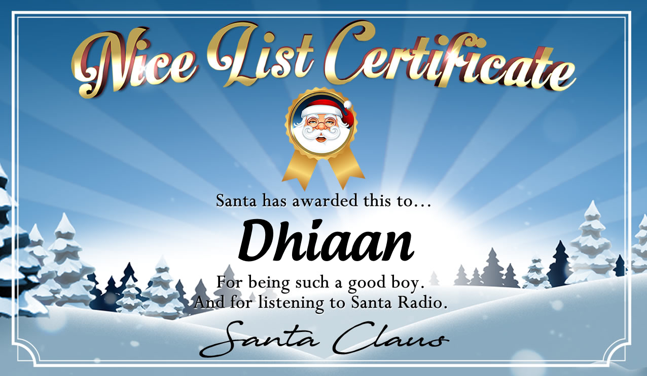 Personalised good list certificate for Dhiaan