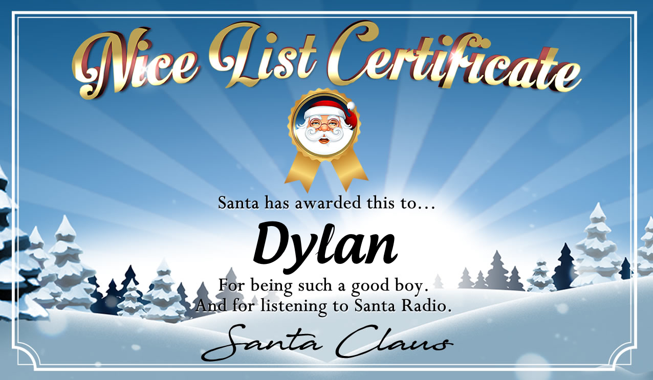 Personalised good list certificate for Dylan