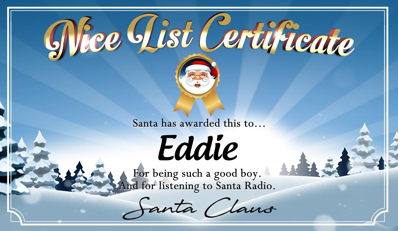 Personalised good list certificate for Eddie