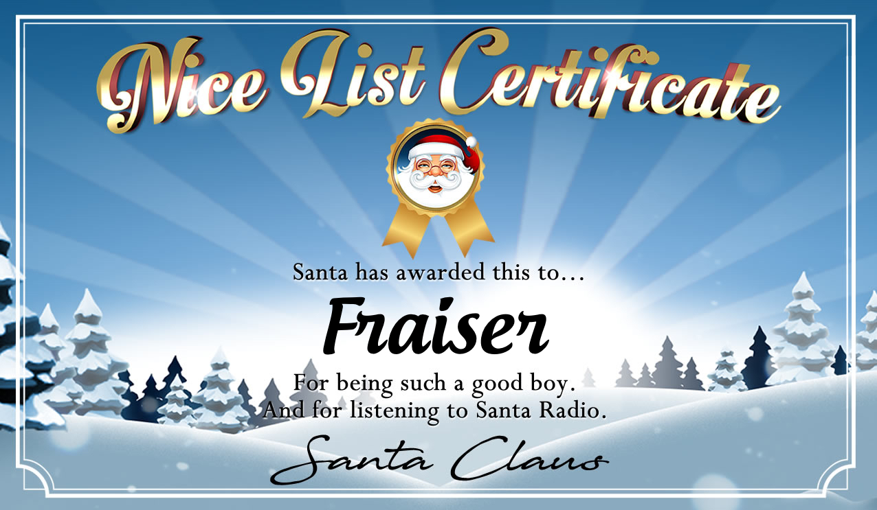 Personalised good list certificate for Fraiser