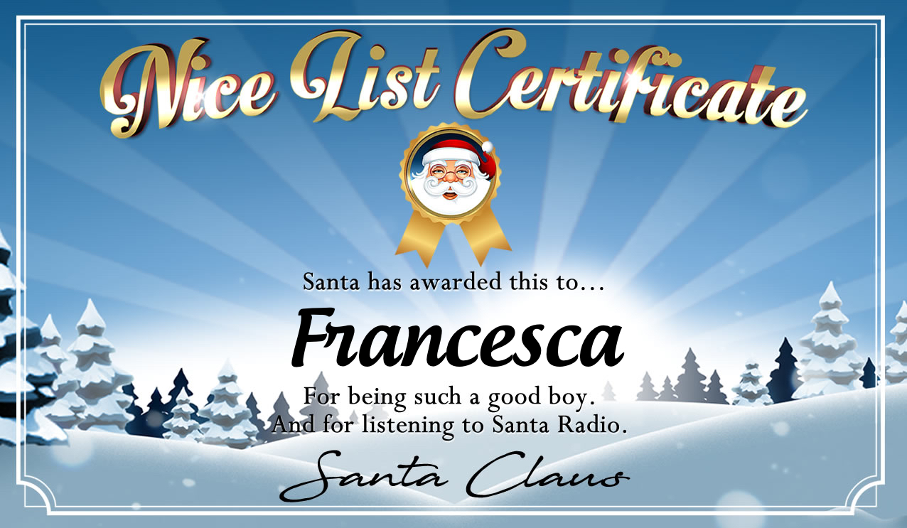 Personalised good list certificate for Francesca