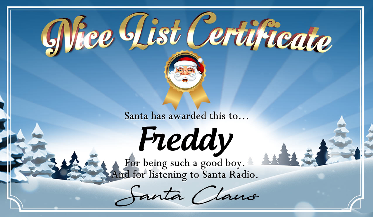 Personalised good list certificate for Freddy