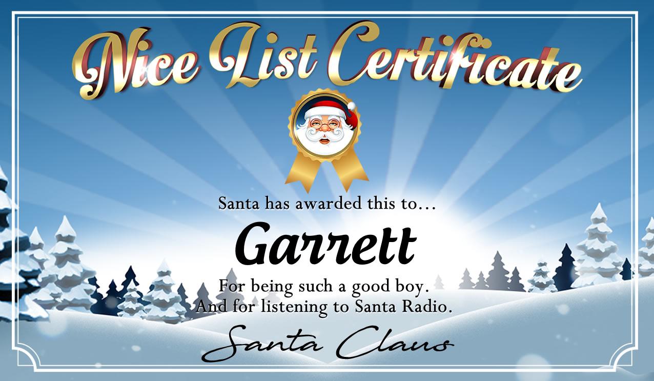 Personalised good list certificate for Garrett