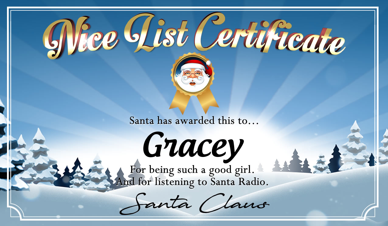 Personalised good list certificate for Gracey