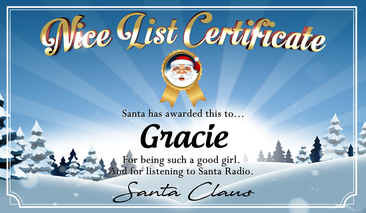 Personalised good list certificate for Gracie