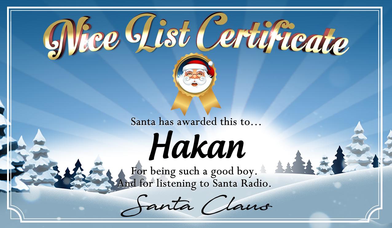 Personalised good list certificate for Hakan