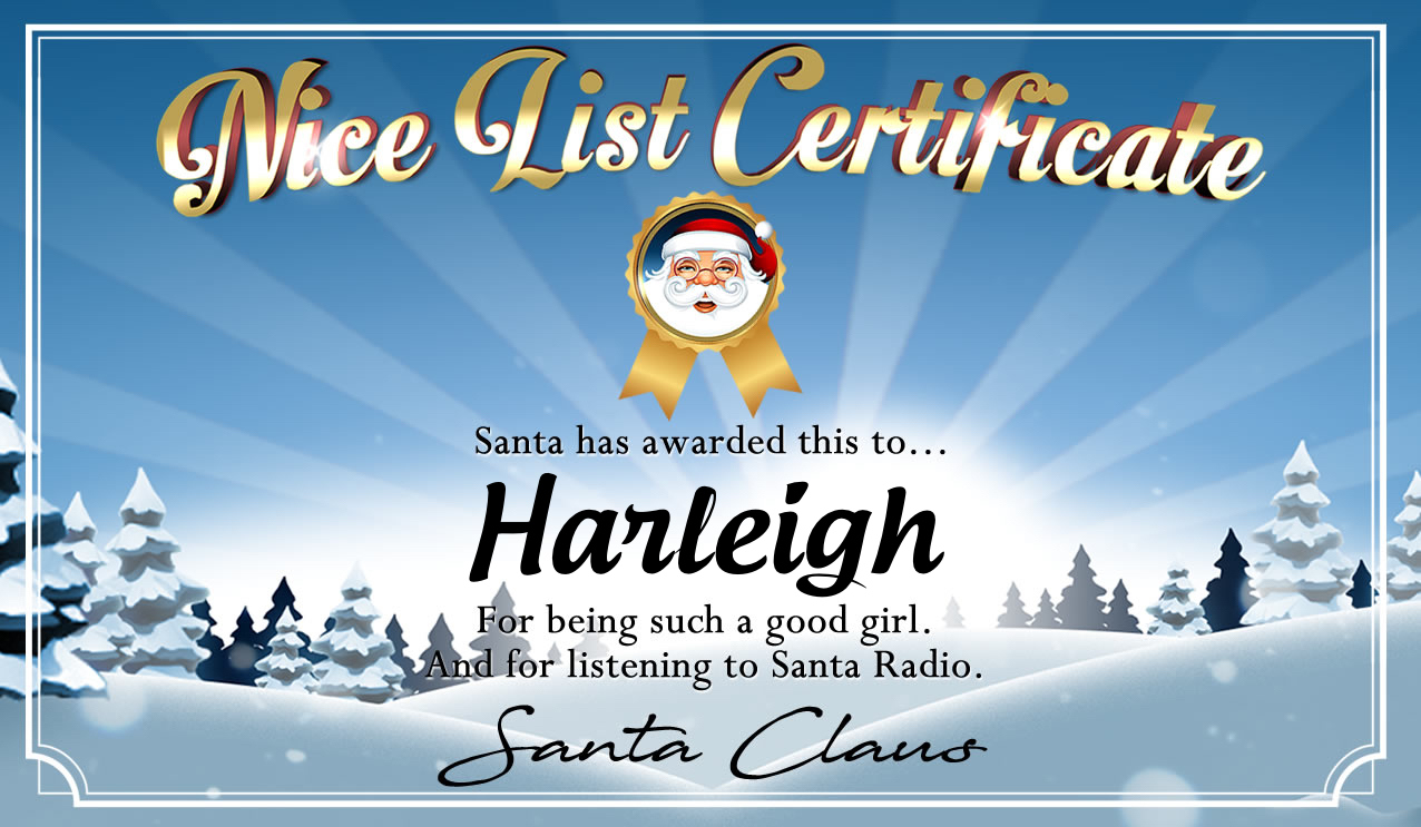 Personalised good list certificate for Harleigh