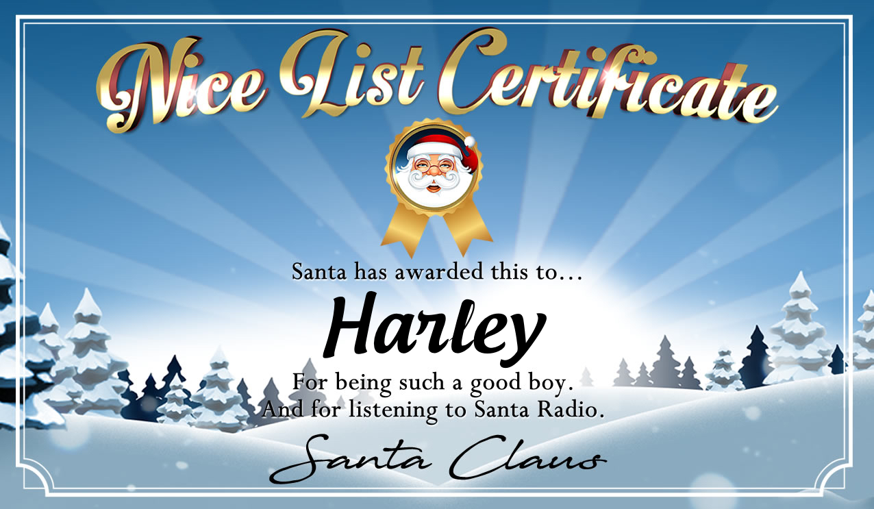 Personalised good list certificate for Harley