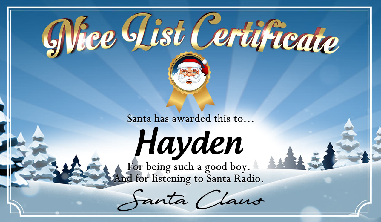 Personalised good list certificate for Hayden