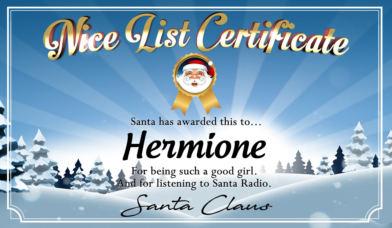 Personalised good list certificate for Hermione