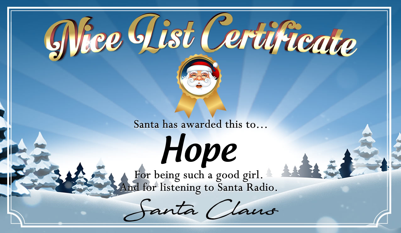 Personalised good list certificate for Hope