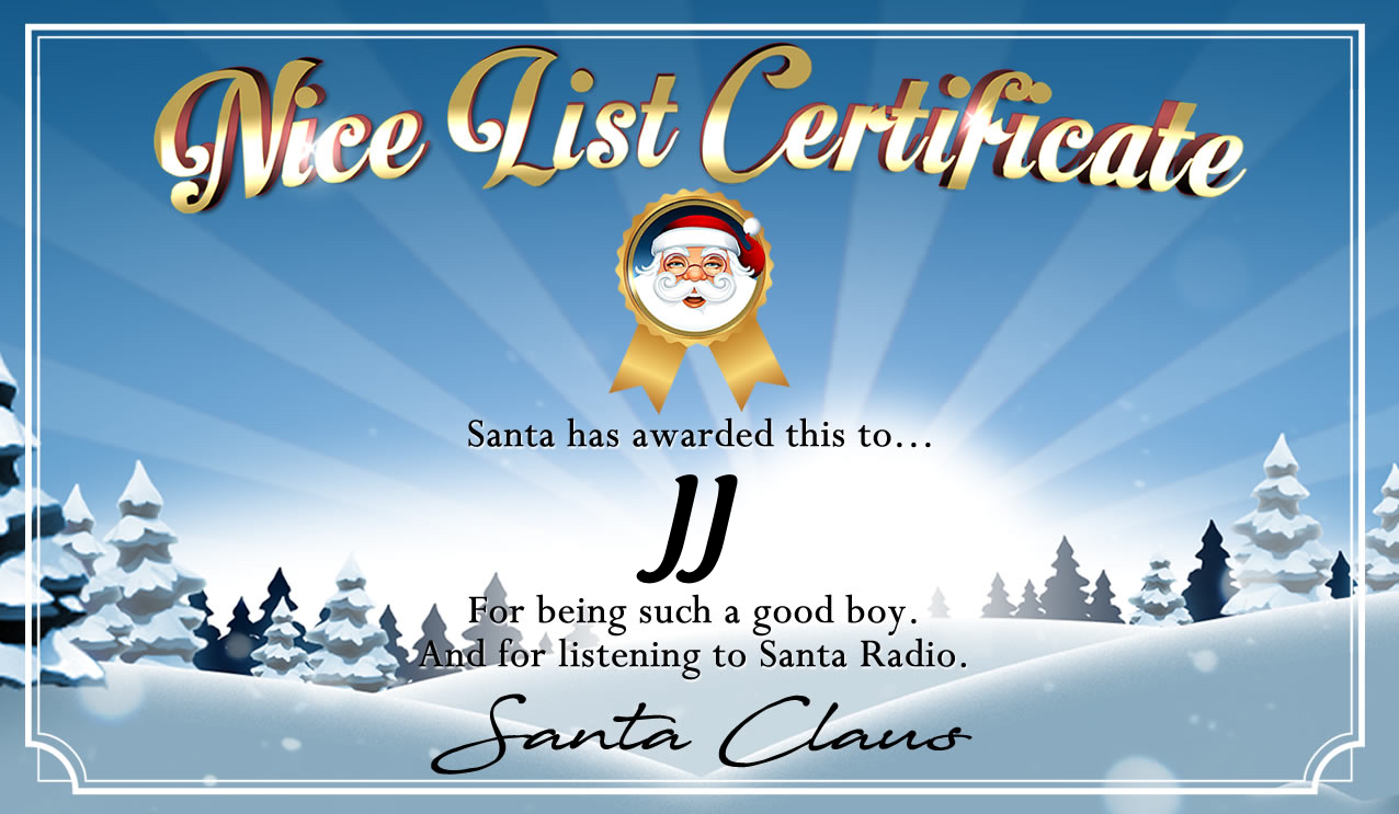 Personalised good list certificate for JJ