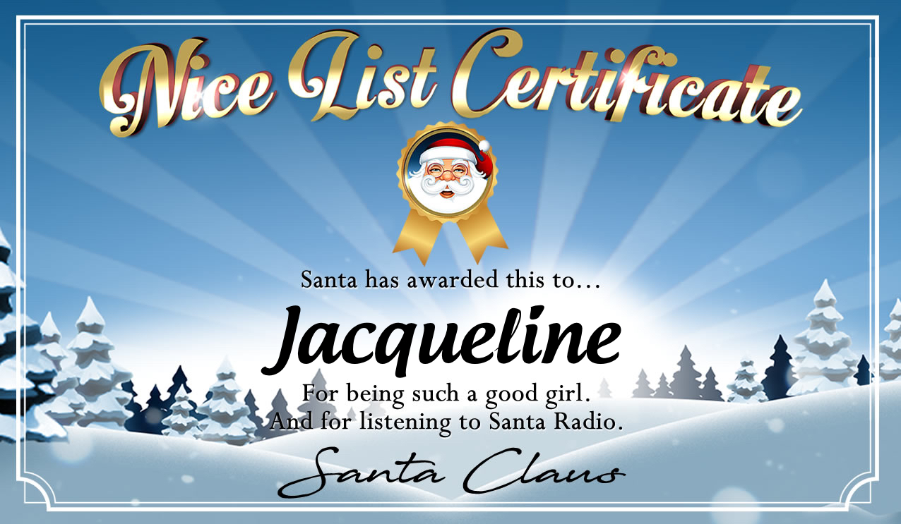 Personalised good list certificate for Jacqueline