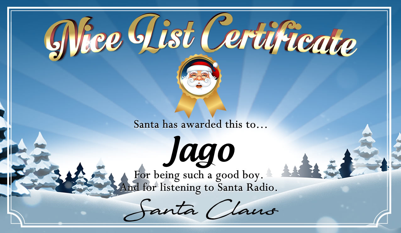Personalised good list certificate for Jago