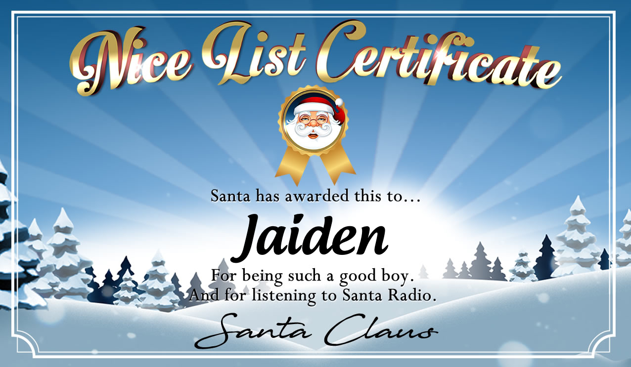 Personalised good list certificate for Jaiden