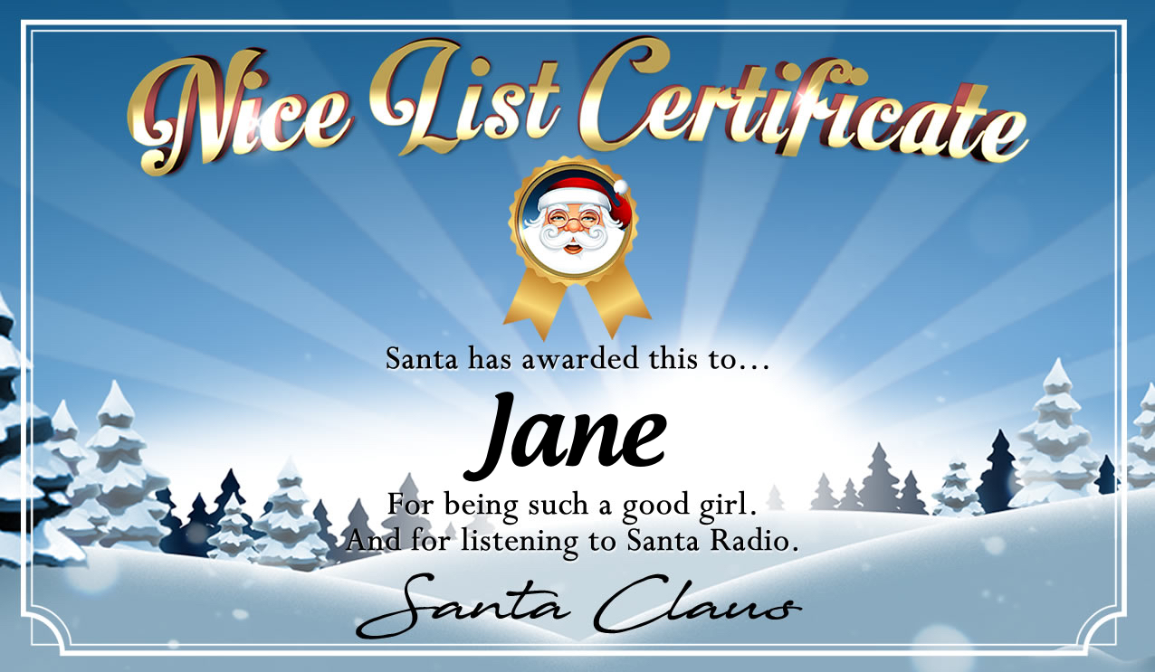 Personalised good list certificate for Jane