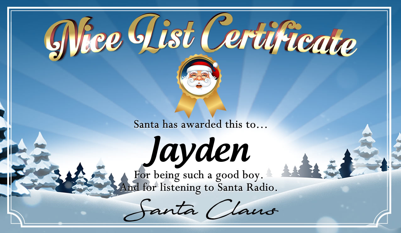 Personalised good list certificate for Jayden