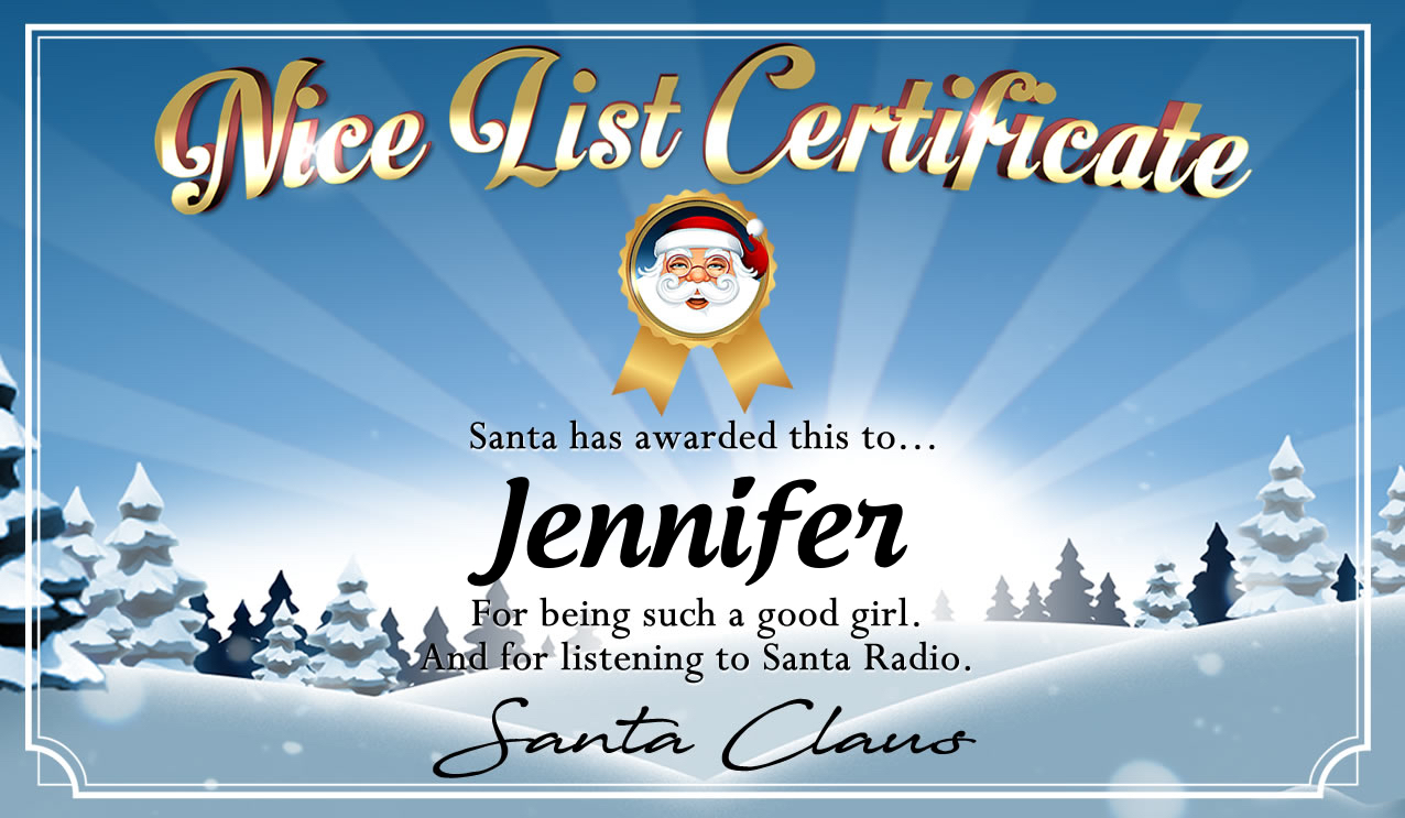 Personalised good list certificate for Jennifer