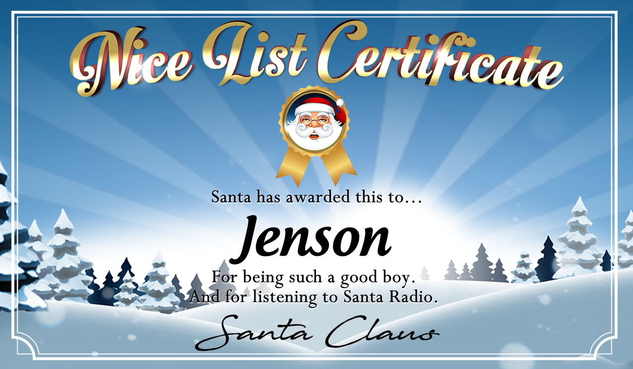 Personalised good list certificate for Jenson