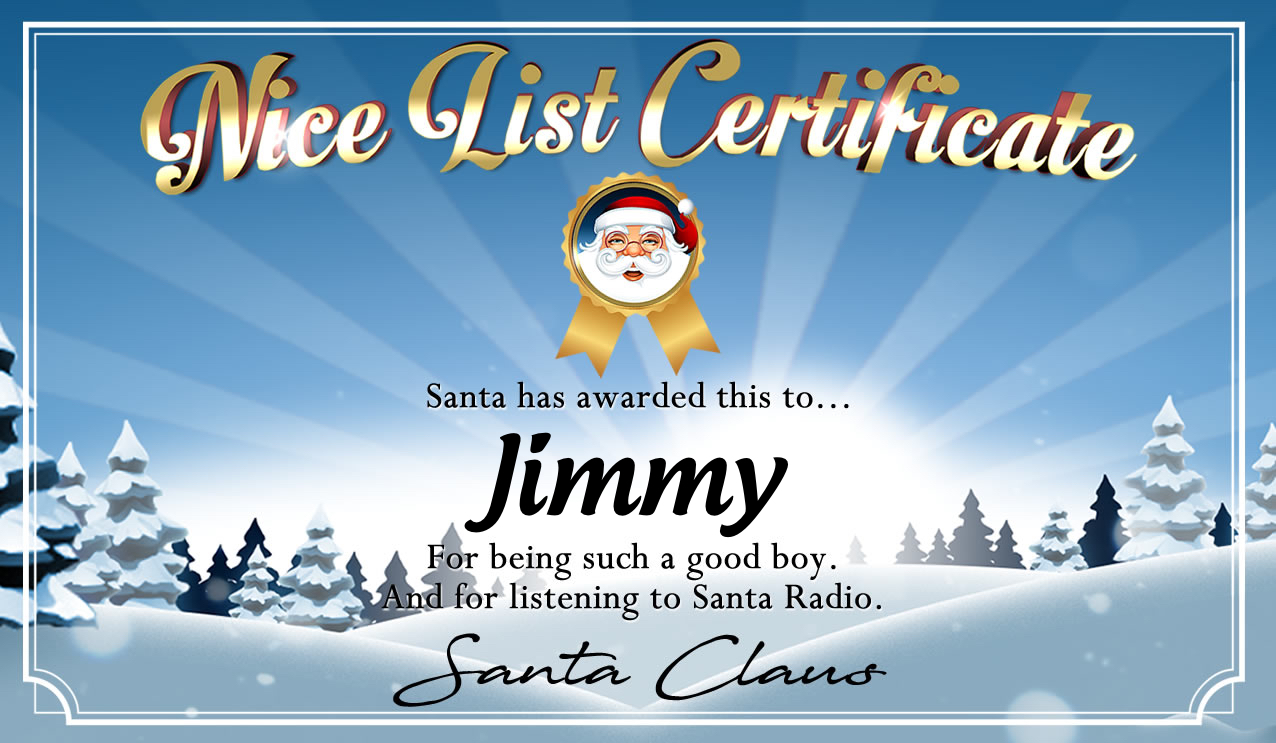 Personalised good list certificate for Jimmy