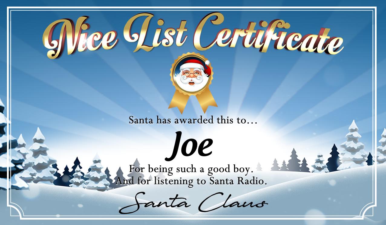 Personalised good list certificate for Joe