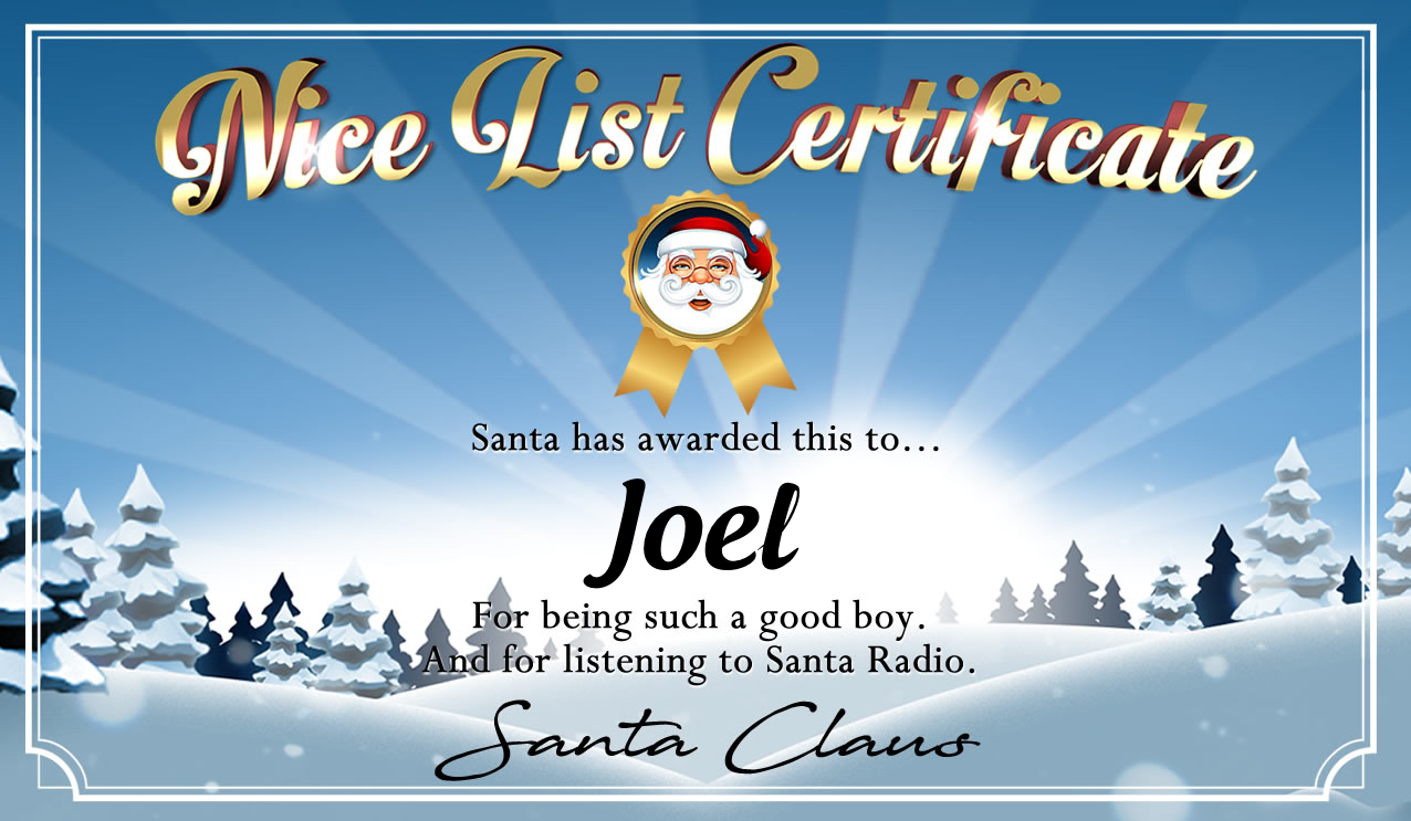 Personalised good list certificate for Joel