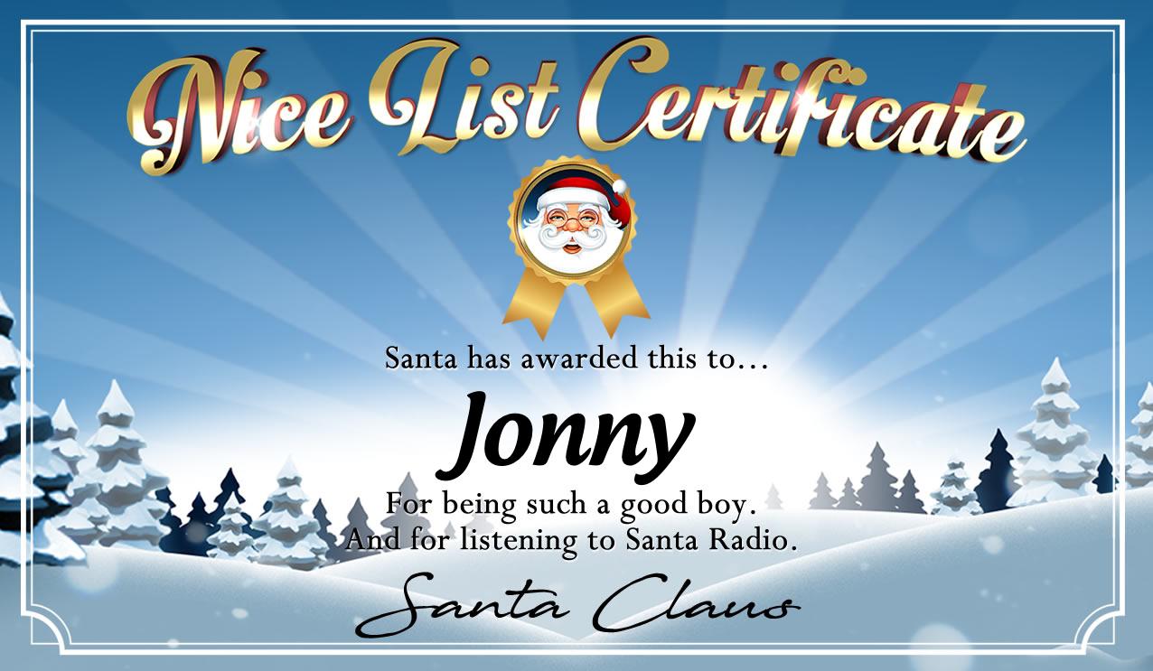 Personalised good list certificate for Jonny