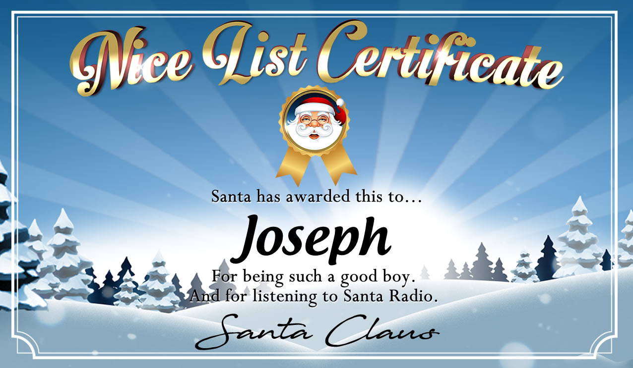 Personalised good list certificate for Joseph