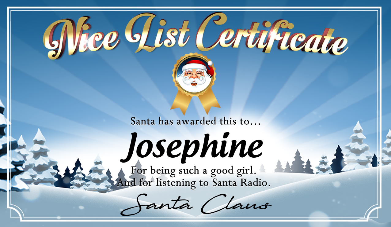 Personalised good list certificate for Josephine