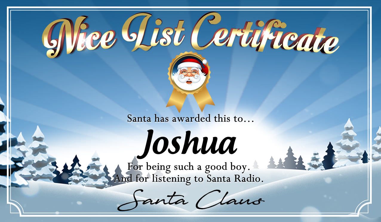 Personalised good list certificate for Joshua