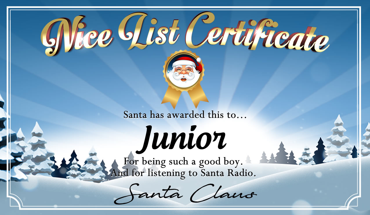 Personalised good list certificate for Junior
